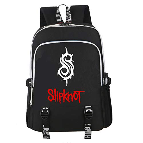 Slipknot Backpack with USB Charging Port for Men Women, Music Metal Rock Bag Student School Bookbag