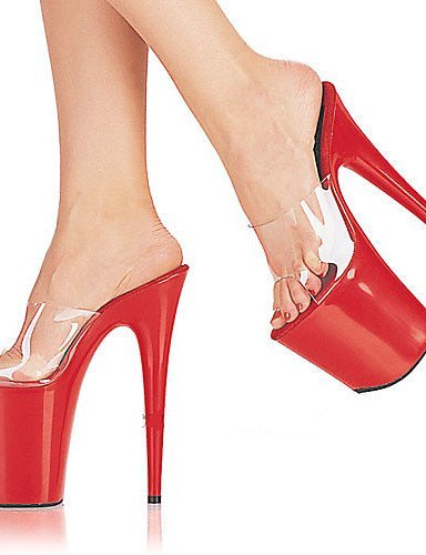 ShangYi Women's Shoes Sexy Round Toe Stiletto Heel sandals Heel Height 20cm (More Colors) Red