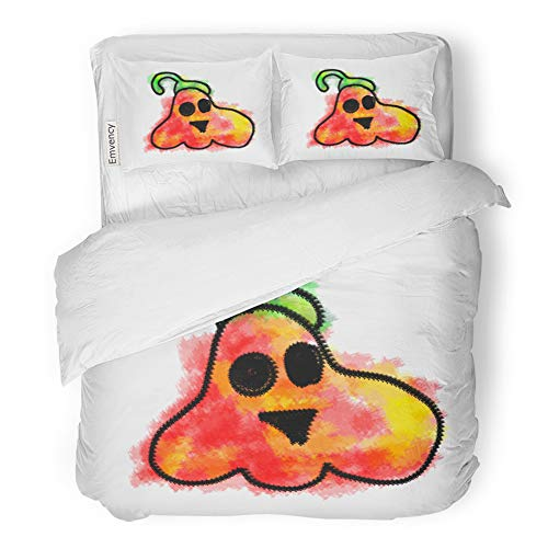Emvency 3 Piece Duvet Cover Set Brushed Microfiber Fabric Breathable Happy and Funny Spooky Scary Colorful Halloween Pumpkins Painting in Kids Bedding Set with 2 Pillow Covers Twin Size ()