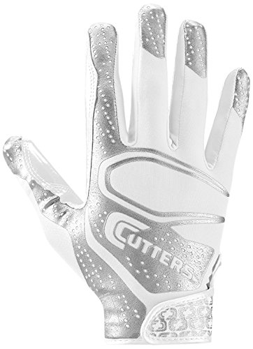 Cutters Rev 2.0 Receiver Gloves, Pair,  Youth ,LARGE ,WHITE (Wide Gloves Receiver Football)