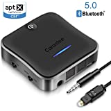 Carantee Bluetooth 5.0 Transmitter Receiver, aptX Acc Low Latency 2 in 1 Wireless 3.5mm & Optical Adapter, for TV/Car Stereo/Home Sound System (Pair 2 Devices at Once) Carantee