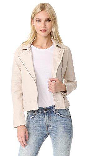 BB Dakota Women's Stafford Washed Leather Jacket, Bone, Medium (Bb Dakota Leather Jacket)