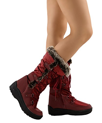 Wine Eskimo Mid Boots Fur up Women's Lined Premium OF FASHION Snow Ankle Artic Water RF Resistant Nylon ROOM Warm Lace Calf qnHSH4Z