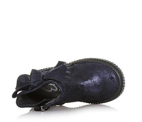 ELI Blaue Stiefelette Aus Wildleder mit Glitzern, Handgemacht in Spanien, Seitlich ein Reißverschluss, Mädchen-24