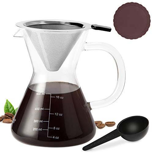 Secura Pour Over Coffee Dripper, Borosilicate Glass Carafe with Stainless Steel Filter, 17 Ounce