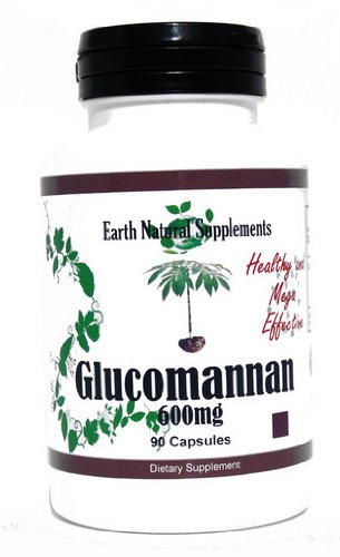 Glucomannan * 90 Capsules Glucomannan 600 Mg Konjac Root Fiber for Constipation- Earth Natural Supplements