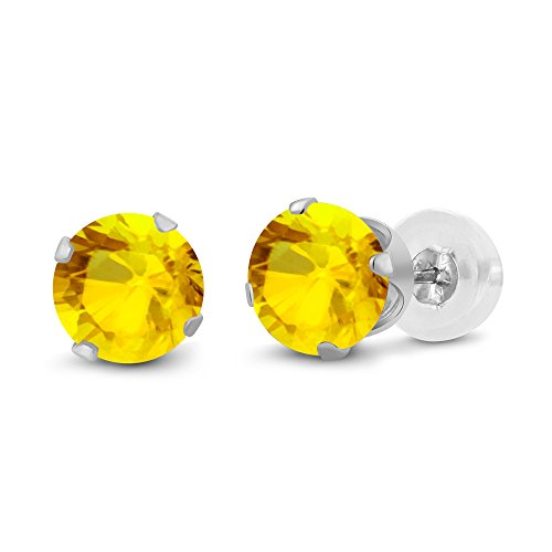 Gem Stone King 14K White Gold Yellow Sapphire Gemstone Stud Earrings (0.72 cttw, 4MM Round)