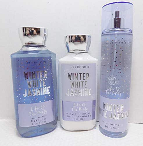 Bath and Body Works Winter White Jasmine (Jasmine, Freesia, Amber, Musk) - Life Of The Party - 3 Pc Gift Set, 8 oz Body Lotion, 8 oz Fragrance Mist, 10 oz Shower Gel