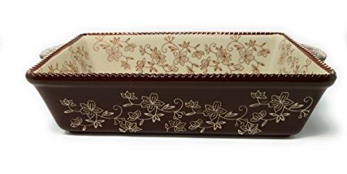 Temp-tations 11 inchx7 inch 2.5 Quart Baker Lasagna CasseroleDish Replacement (Floral Lace Chocolate)