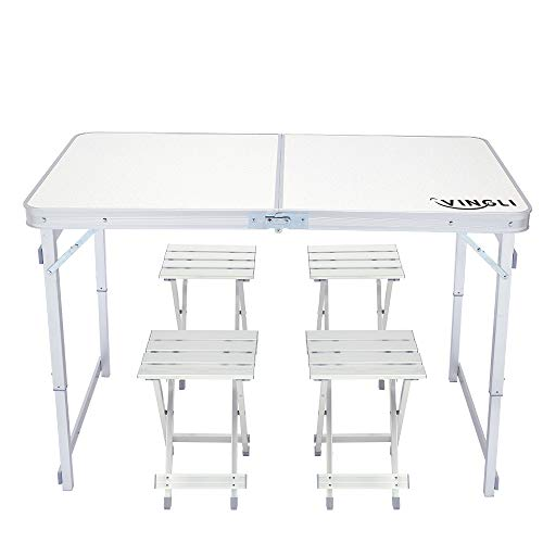 VINGLI 4 Foot Height Adjustable Folding Utility Table with Seats, Portable Multipurpose Camping Dining Picnic Table for Indoor Outdoor Party Commercial Activities