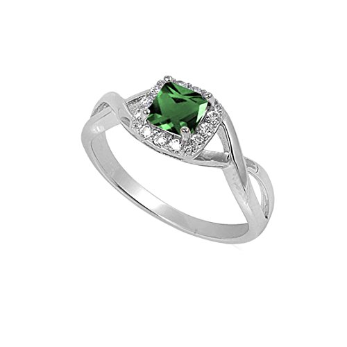 Blue Apple Co. Solitaire Infinity Shank Ring Simulated Emerald Princess Cut 925 Sterling Silver,Size-9