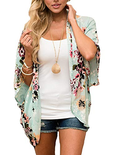 Women's Floral Print Puff Sleeve Kimono Cardigan Loose Cover Up Casual Blouse Tops (X-Large, Mint0) ()