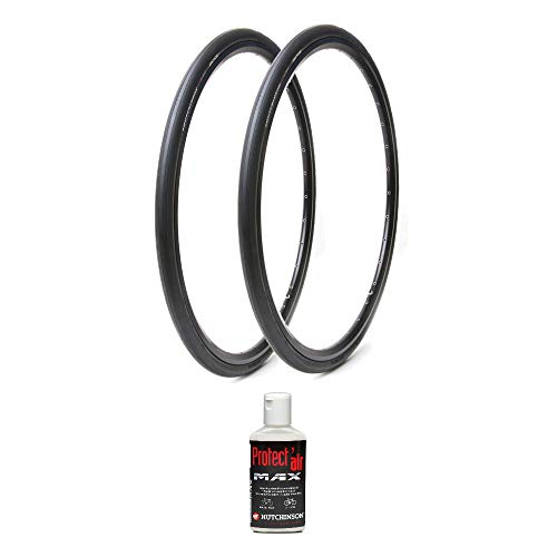 Hutchinson Sector 32 Tubeless Ready Road Bike Tires, 2-Pack (Black, 700x32) with Protect Air Anti-Puncture Sealant Kit
