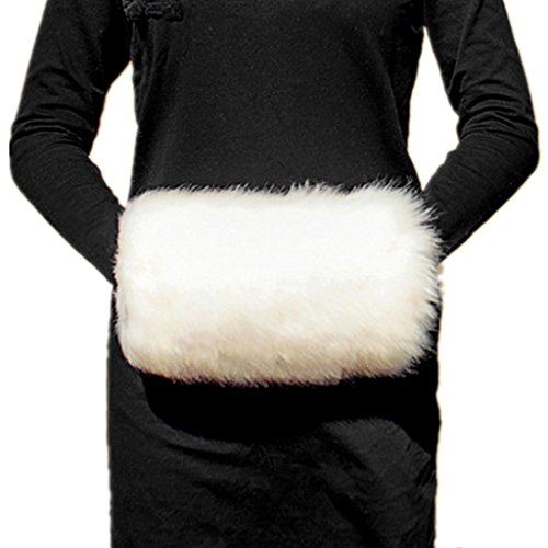 Rabbit Fur Muff (Wed2BB Cream White Faux Fur Hand Muffs, Women Warm Faux Rabbit Fur Muffs)