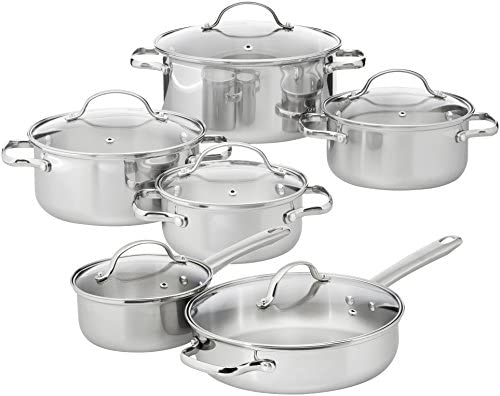 AmazonBasics - Juego de utensilios de cocina de acero inoxidable, 12 piezas
