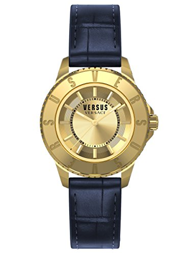Versus by Versace Women's SH7180015 Tokyo Gold Ion-Plated Watch with Blue Leather - Glass Crystal Versus