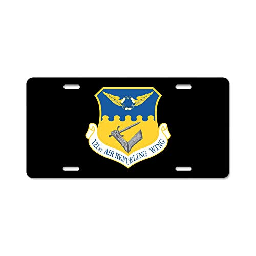 Crysss Metal Black License Plates, Personalized Custom Plates for Car Decoration 6 inch x 12 inch US Standard - U.S. Air Force 121st Air Refueling Wing ()