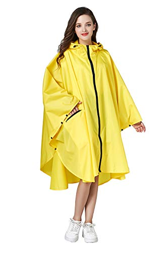(Women Rain Poncho Stylish Polyester Waterproof Raincoat Free Size with Hood Zipper Styles)