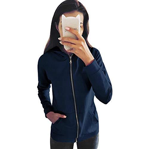 Long Outwear Coat Jacket Fashion Zipper Tops Blue Women Sweatshirt Sleeve Hooded Overcoat KIMODO gavYndg