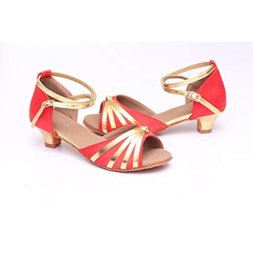 Scarpe 2 Donna Standard Da Tacco amp;bambina Rosso Eleganti Latino Scivolo Sala Comfort 4cm Ballo Anti Serie Chic R6rwp5qc6
