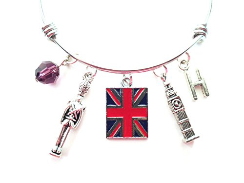 (England / United Kingdom / London themed personalized bangle bracelet. Antique silver charms and a genuine Swarovski birthstone colored element.)