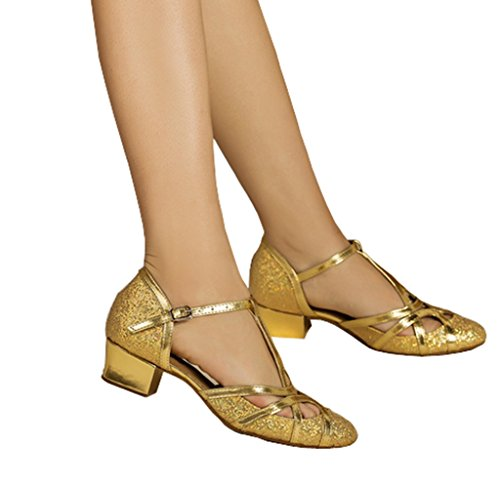 CRC Women's Round Toe T-Strap Gold PU Leather Glitter Material Ballroom Morden Tango Salsa Professional Dance Shoes 10.5 M US