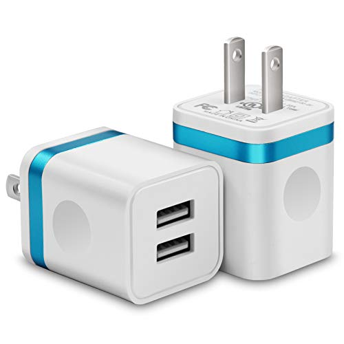 USINFLY USB Wall Charger, UL Certified 2-Pack 2.1A/5V USB Plug Dual Port Charger Block Power Adapter Charging Cube Compatible with Phone 8/7/6S/6S Plus, X Xs Max XR, Samsung, HTC, LG, and More
