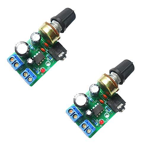 Acxico 2Pcs LM386 10W Mini Power Amplifier Board Audio Amplifier Module DC 3-12V Volume Adjustable Control