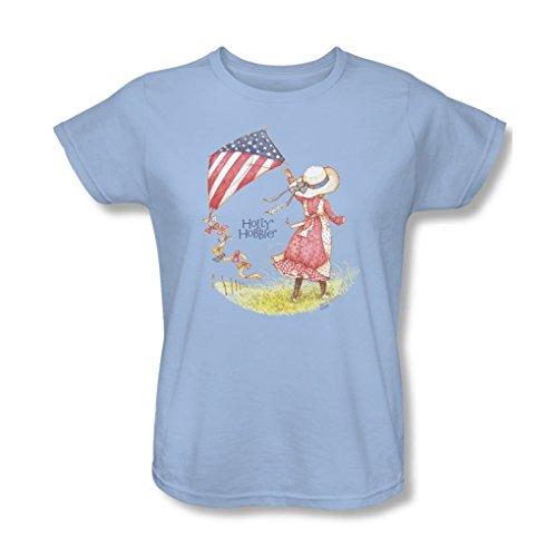 Holly Hobbie - Womens Americana T-Shirt, Small, Light Blue Holly Hobbie Clothes