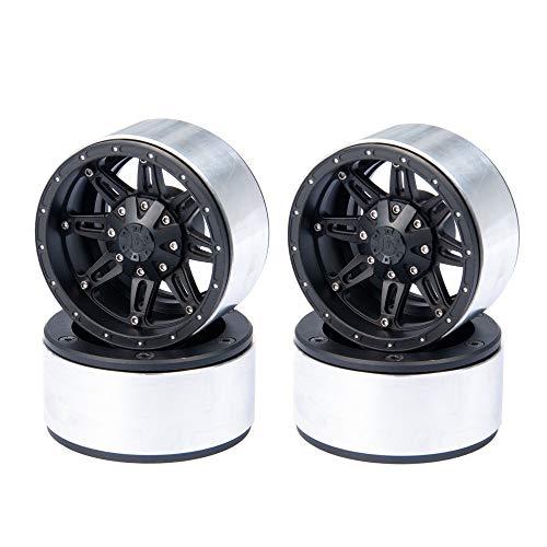 RCLIONS Aluminum 2.2inch Beadlock RC Wheels Rims for 1:10 Rock Crawler Axial Wraith RC Car -Pack of 4pcs (Black)