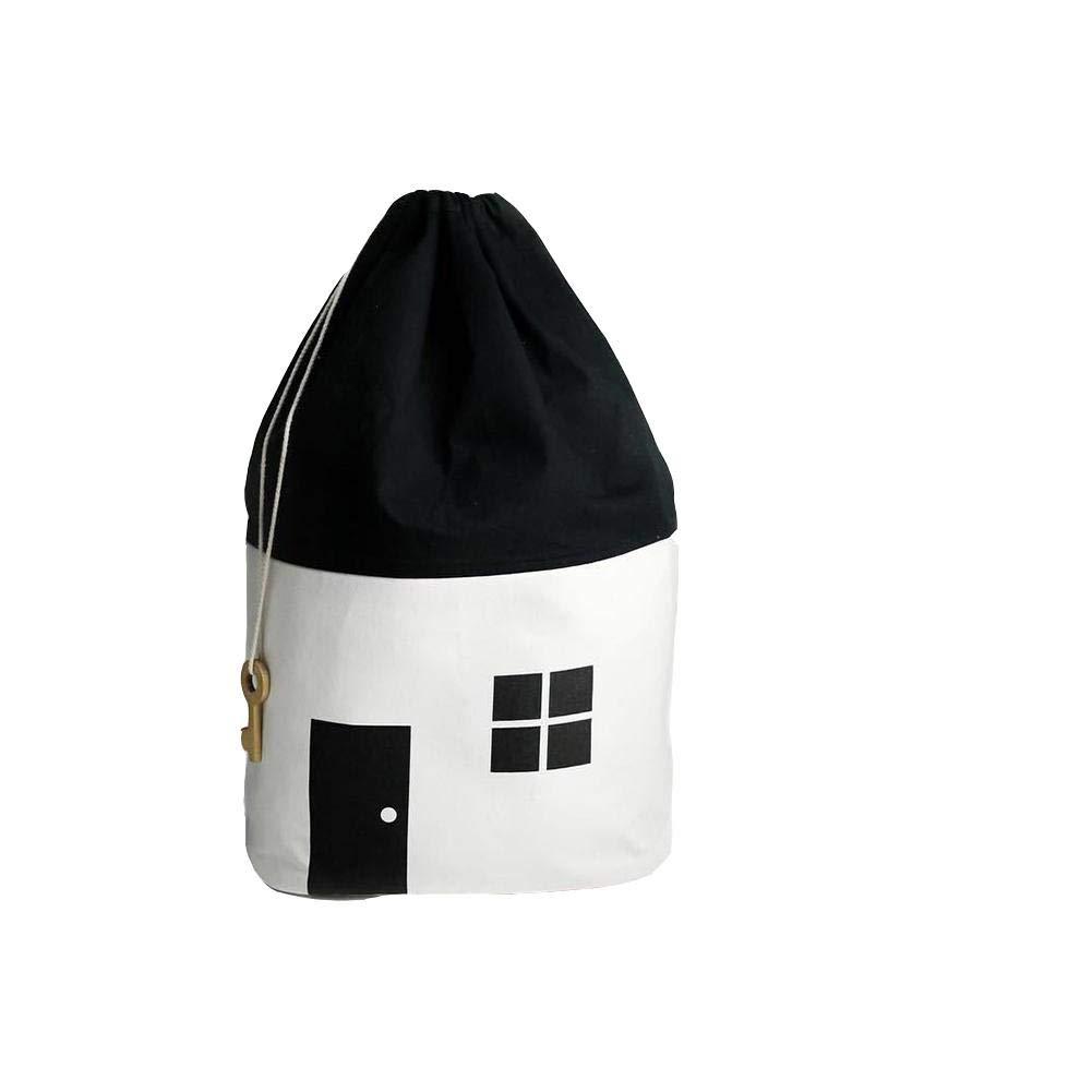 Globalqi Sac de Rangement La Bouche du Faisceau Petite Maison Noir et Blanc Coton Toile Jouet Dé coration de la Chambre des Enfants