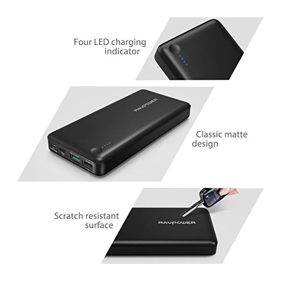 RAVPower USB C Battery Pack 20100 Portable Charger with QC 3.0 Qualcomm Quick Charge 3.0, 20100mAh Input & Output Type C Power Bank for Nintendo Switch, iPhone, 12-inch MacBook, Galaxy and More 6 Choose the RAVPower Treatment: Join millions of users worldwide that rely on our leading technology for their daily charging needs Quick Charge 3.0 Input & Output: 75% faster technology, charge compatible smartphones from 0 to 80% in only 60 minutes; QC3.0 input allows for speedy recharging of the battery charger Type-C Input & Output: The airplane-friendly power bank recharges up to 5V/3A; compatible with Nintendo Switch, 12-inch MacBook, Google Pixel 2, Samsung Galaxy S8 / S8 Plus, Huawei Mate 10 Pro