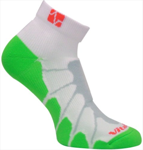 (Vitalsox Run and Fun Compression Technology Silver Drystat, Performance Running Socks (Pairs-Fitted), White/Green, Medium VT4011)