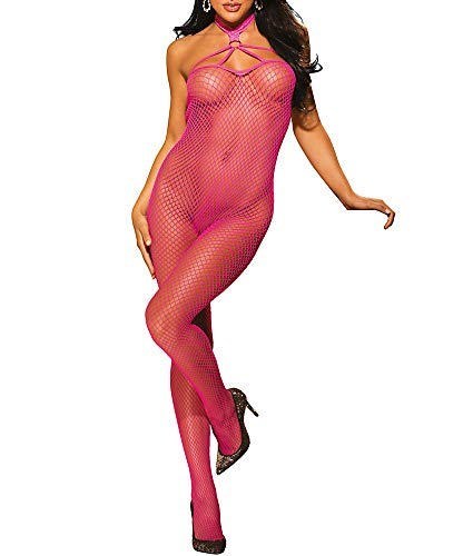 Shirley of Hollywood Choker Bodystocking, One Size, Hot Pink