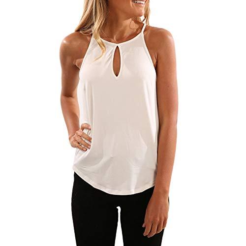 Women's Sleeveless Blouse,Chaofanjiancai Fashion Summer Tank Crop Top Blouse Vest Gallus Solid Casual Shirt White