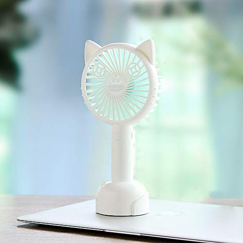 Morenitor Mini Handheld Fan, Portable Hand Fan Cute Cartoon Cat Shape Design Table Fans with USB Rechargeable Personal Fan with Stand for Traveling Outdoor Office Hometabletop Fan (White Green) ()