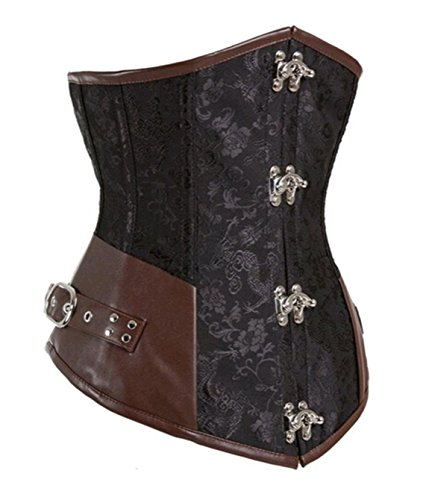 Women's Retro Boned Steampunk Corset Top Gothic Waist Training Party Dress Black