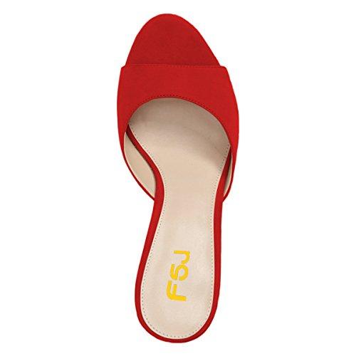 Fsj Donne Comfort Sandali Con Tacco Basso Sandali Spuntati In Pelle Scamosciata Slip On Dress Pompa Scarpe Taglia 4-15 Us Red-5 Cm