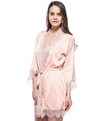 Strap Nightgown L Dress Dressing Pajamas Gown Size Color Women Sleeves Wanyne Orange Hem with Bathrobe Gowns Orange Dressing Lace qvtCvwAx
