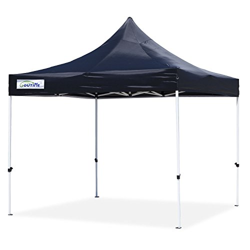 Goutime 10x10 Ft Pop Up Outdoor Instant Canopy Tent, Waterproof Ez Up Shelter for Beach, Backyard, Tailgate, Party (Black) (10 Garden Party Canopy)