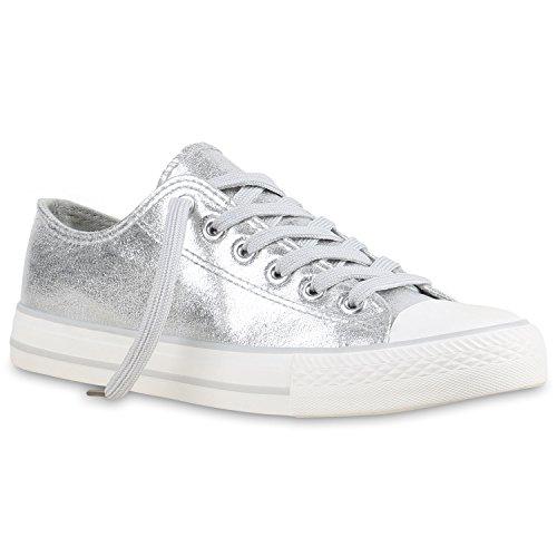 126136cad6c6 Stiefelparadies Glitzer Damen Sneakers Sneaker Low Metallic Schnürer Denim  Flats Turnschuhe Sportschuhe Flandell Silber Glanz