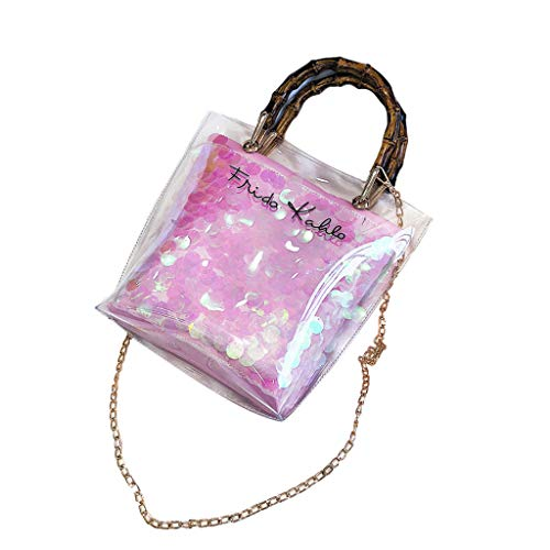 Willow S Women Lady Fashion Trend Clear Waterproof Jelly Shoulder Bags Double Layer Bamboo Weave Totes Handbags ()