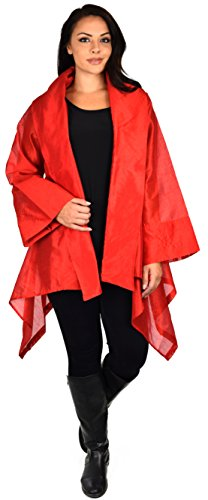 Dare2bStylish Women Plus Size Loose Fitting Poly Silk Designer Cover Up Duster ()