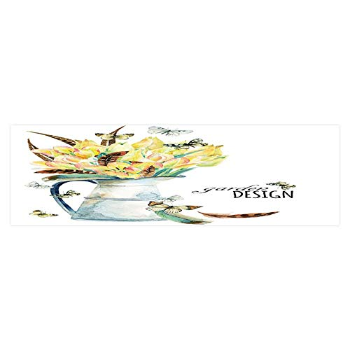 Dragonhome Aquarium Decorative Flower Garden Card with Tulips Feathers Butterfly and Rustic Aquarium Background Sticker Wallpaper L23.6 x H11.8 ()