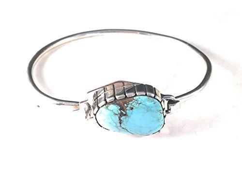 Nizhoni Traders LLC Vintage Turquoise Sterling Silver Navajo Bangle (Sterling Turquoise Vintage Bracelets)