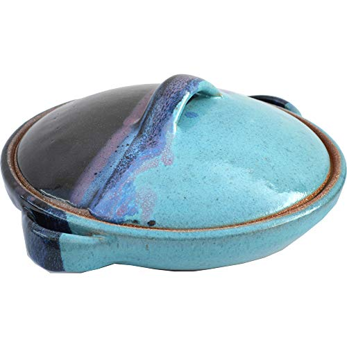 1 Quart Casserole Dish with Lid in Mountain Waves glaze.