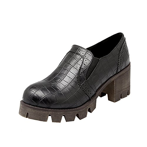 Bedel Voet Damesmode Casual Dikke Hak Platform Loafers Schoenen Zwart