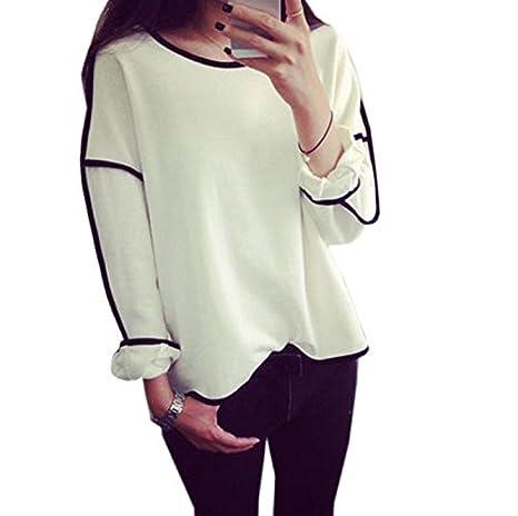 Landfox New Women Loose Geometry Pullover Shirt Long Sleeve Top Shirts Blouse fashion
