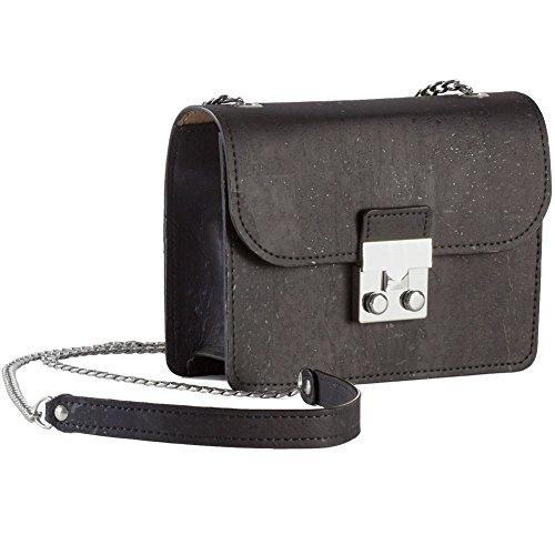 Corkor Mini Cork Handbag For Women Fashionable Vegan & Eco-Friendly Hands-Free Black Color