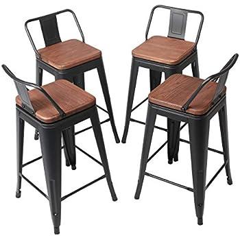 Amazon Com Yongqiang Set Of 4 Swivel Metal Barstools